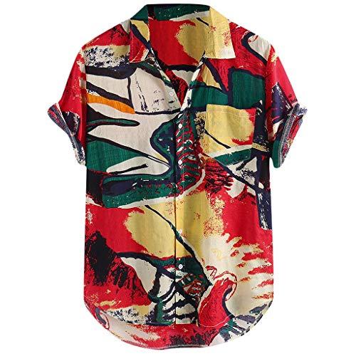 Xmiral Camicia Top Multicolor Stripes/Color Block Plus Size Graffiti Manica Corta Bottoni Larghi Largo Bluse Uomo (L,19- Rosso)