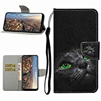 Mylne Full Body Wallet Case for iPhone 6 Plus/6S Plus,Pu Leather Protective Flip Cover with Wrist Strap ID Card Holder Magnetic Closure,Black Cat