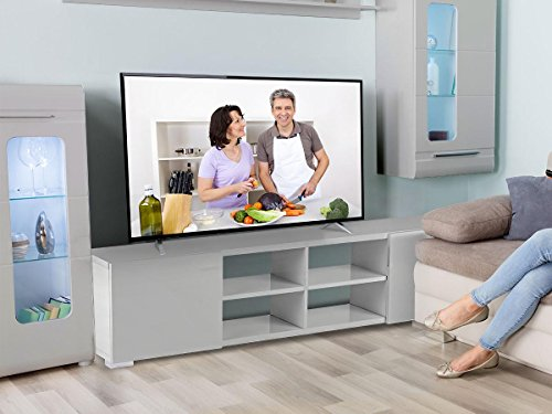 Habitat et Jardin - Meuble TV Alicia - 185 x 30 x 42,5 cm - Gris laqué
