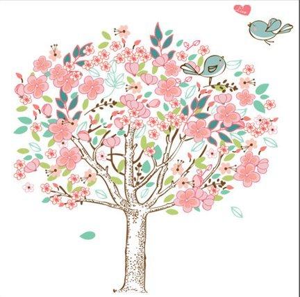 YBFQ La Testa Della Camera Da Letto Cherry Blossoms Romantico Divano A Parete Per Tv Adesivi Murali 60*90cm
