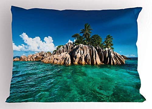 Ytavv Island Pillow Sham, St. Pierre Island at Seychelles Natural Granite Relaxation Mediterranean, Decorative Standard Queen Size Printed Pillowcase, 30 X 20 inches, Jade Green Blue Tan Seychelles Natural