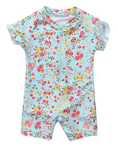 Attraco Säugling Badeanzug Mädchen Rash Guard UV Kurzarm Süßes Floral Print Bademode UPF50+ Grün Blumen 12-18 Monate (Rash Floral Guard)