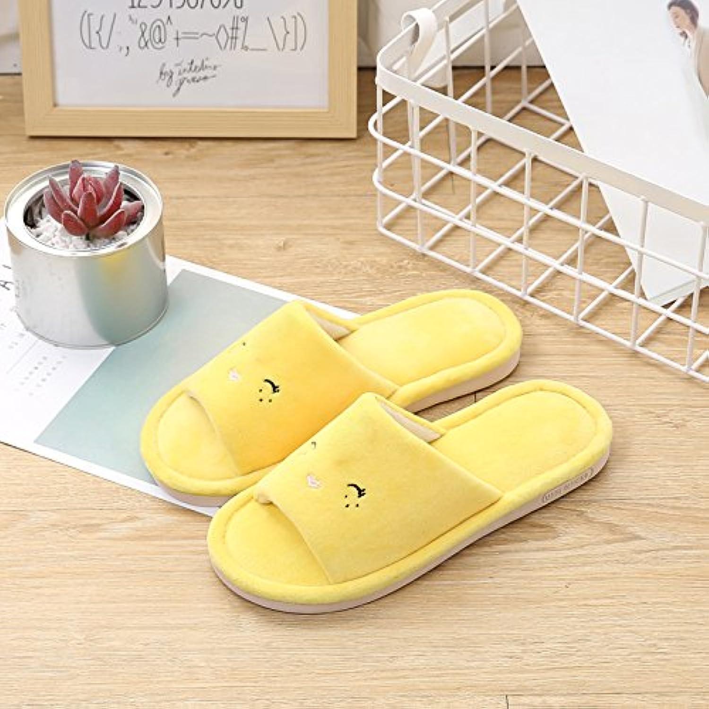 Cómodo y relajante fankou piso anti-cool amantes de la moda cálida zapatillas ,44-45, Yellow Bird cara sonriente