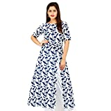 Peepal Women's Blue Printed Side Slit Co...
