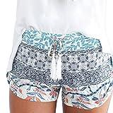Dasongff Damen Hot Pants Sommer Shorts Hohe Taille Kurze Hosen Böhmen Drucken Bikinihose Strandshorts Sommerhosen für Damen Mädchen (XL, Blau)