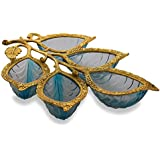 Homesake Golden 5 Leaf Glass & Metal Serving Tray, Blue