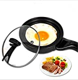 FFJTS Omelet mini bandeja de hornear eléctrica negra (con tapa)
