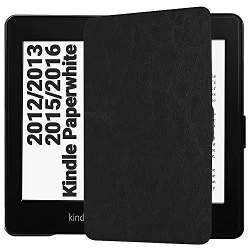 EasyAcc Housse pour Kindle Paperwhite, Ultra-Mince Etui, avec et Sommeil/Reveil Automatique (Compatible pour Kindle Paperwhite 2012/2013/ 2015, Noir) Non Compatible avec le Modèle 2018