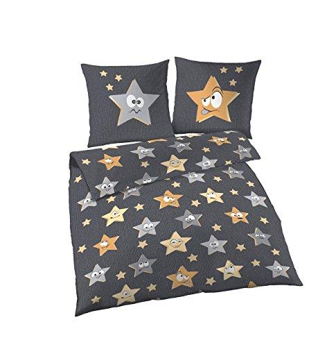 Dobnig Kinderbettwäsche 135x200 2teilig | Bettwäsche Sterne Grau | Biber Bettwäsche 135x200 cm & Kissenbezug 80x80 | Flauschige Bettwäsche