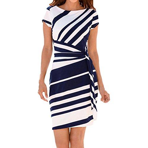 MRULIC Damen Working Dresses Pencil Gestreiftes Party-Kleid beiläufige Minikleider Slim-Fit Abendkleid Taille Gürtel(Blau,EU-40/CN-M)