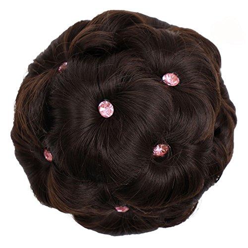 Clearance Saingace Frauen Haarteil Haar Ring Curly Braut Makeup Diamant Brötchen Blumen Chignon ()