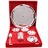 Indian Art Villa Silver Plated Dinner Thali Set -Set Of 7