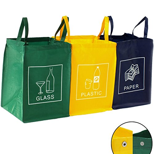 DWD-Company TRESKO Set de 3 bolsas para reciclar basura | Sistema de reciclaje para vidrio, plástico y papel