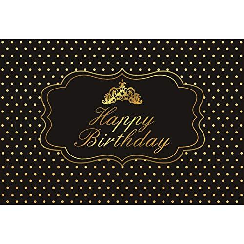 Cassisy 1,5x1m Vinyl Geburtstag Fotohintergrund Alles Gute zum Geburtstag Banner Goldene Krone Punkte Schwarze Wand Fotoleinwand Hintergrund für Fotostudio Requisiten Party Baby Kinder Photo Booth