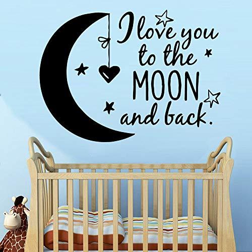 Babybett Cartoon Mond Wanddekor Vinyl Wandaufkleber Für Schlafzimmer Kinderzimmer Dekoration Wandtattoos Aufkleber Wandbild 58 * 79 cm -
