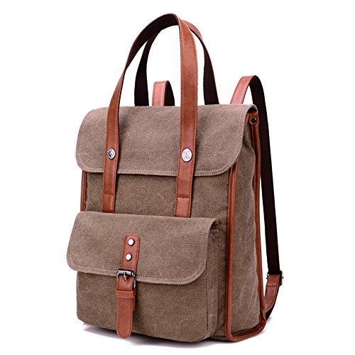 BYD - Donna Uomo Unisex School Bag zainetto backpack Travel Bag Canvas Bag Borse a mano Borse a spalla with Mutil Function Pocket Brown