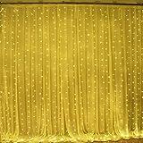 Upgraded OMGAI 300LEDs Vorhang-Licht Mit 8 Modi Für Weihnachten Neujahr Party Hochzeit Home Decoration Fairy Lights Garden Decorations 3m*3m (Upgraded Low Voltage) Warmweiß