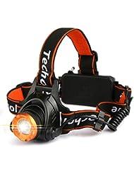 Linterna Frontal LED, Techole Linterna LED Recargable CREE XM-L T6, 2000 Lúmenes con 3 Modos, Zoomable y Ajustable Linterna de Cabeza Para Camping, Pesca, Ciclismo, Carrera, Caza etc.