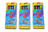 Henbrandt 12 x Packet Wax Colour Crayons- 4 in a Pack - Childrens Party Bag Filler Toy