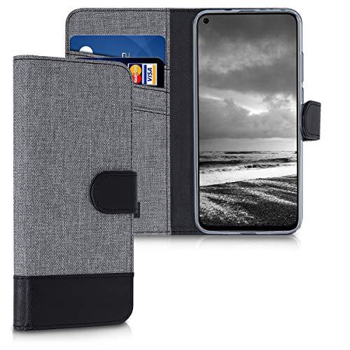 kwmobile Huawei Honor View 20 Hülle - Kunstleder Wallet Case für Huawei Honor View 20 mit Kartenfächern & Stand - Grau Schwarz