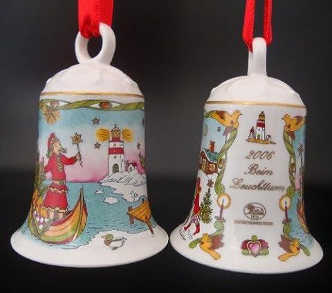 Hutschenreuther Weihnachtsglocke 2006 beim Leuchtturm, ohne Originalverpackung, Porzellanglocke Weihnachten Baumschmuck Glocke Design von Ole Winther / Porcelain bell / Campanella porcellana