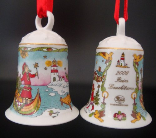 Hutschenreuther Weihnachtsglocke 2006 beim Leuchtturm, ohne Originalverpackung, Porzellanglocke Weihnachten Baumschmuck Glocke Design von Ole Winther / Porcelain bell / Campanella porcellana -