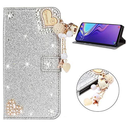 Miagon Hülle Glitzer für Huawei P30 Pro,Luxus Diamant Strass Herz PU Leder Handyhülle Ständer Funktion Schutzhülle Brieftasche Cover,Silber