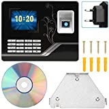 Kafuty Máquina de Asistencia de contraseña de Huella Digital a Prueba de Agua con Pantalla LCD de 2.8 Pulgadas Reconocimiento biométrico Empleado Reloj de Tiempo, Conexión vía USB, TCP/IP (EU Plug)