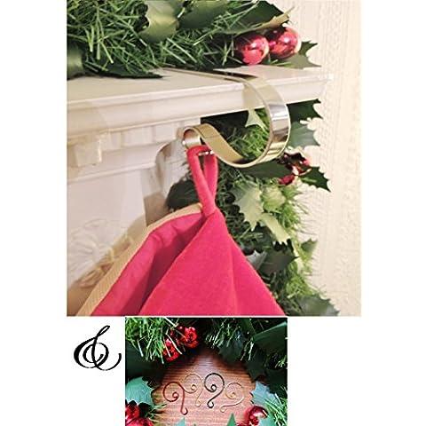 sale- Pack de 2The Original Mantle Clips calcetín de Navidad titulares perchas y hecho a mano clips de perchas de adorno de metal para el árbol