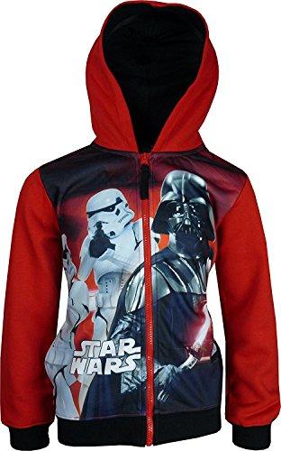 Star Wars Bambini e ragazzi Cerniera intera Felpa con cappuccio Rosso-4 Anni / 104 cm