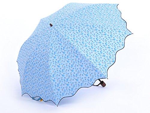 Honeystore Taschenschirm 2-Falten Blumen Sonnnenschirm Pfefferminze Rand Blumen Gedruckt Reisen Sonne Schirm Blau