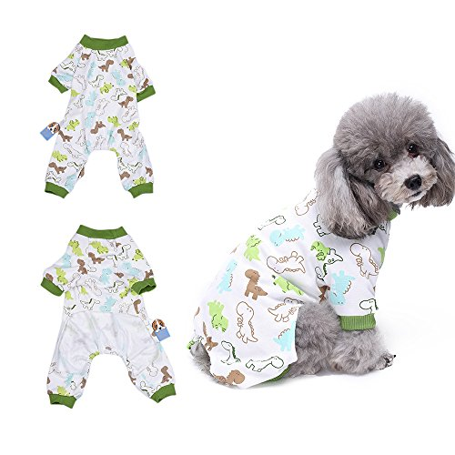 Dinosaurier Schlafanzug Hund Kleidung angenehm Puppy pyjamsa Weich Hund Jumpsuit Shirt 106% Baumwolle Mantel für kleine Hunde und Katzen von hongyh (Dinosaurier-kurz-schlafanzug)