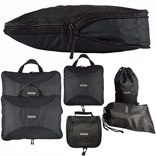 TraveLubes Packwürfel Set mit Kompression 6-teilig mit Kosmetiktasche | Koffer-Organizer & Packtaschen Set für Rucksack & Koffer | Gepäck-Organizer | Kleidertaschen & Kulturbeutel