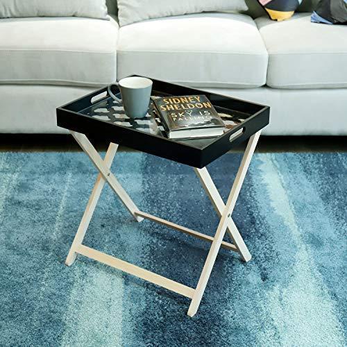 kayoom Table d'appoint avec plateau table d'appoint tablett-tisch Table basse plateau à thé noir