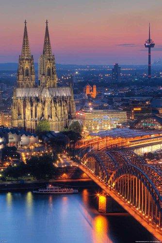Deutsche Städte - Köln - Kölner Dom - Nacht - Plakat Plakat Poster - Grösse 60x84 cm