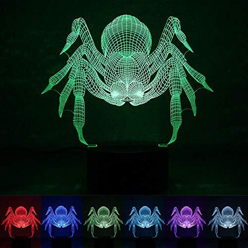 lusion Spinne 7 Farbe Nachtlicht, Schlafzimmer USB-betrieben LED-Beleuchtung kleine Tischlampe, Beleuchtungsdekoration für Kinderzimmer, Halloween/Urlaub/Geburtstagsgeschenke ()