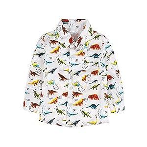 BOBORA Camisa Polo con Estampado de Dinosaurio de Manga Corta de Verano para Niños 1-6Años 12