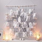 Image of Adventskalender Edel mit 24 Säckchen zum Befüllen Baumwolle/MDF weiß/silber