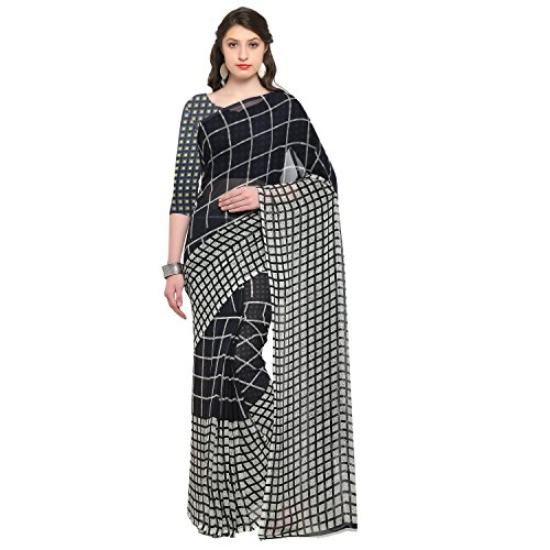 Womanista Synthetic Saree with Blouse Piece (FSP370!_Black & Off White!_One Size)