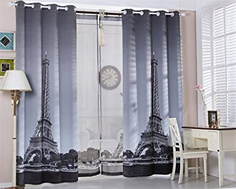 KKLL Curtains Flax Blackout Print Fabric Warm Protecting drape Room Insulated Panels for Bedroom Window Drapes 1.4 * 2.7m (1 panels)