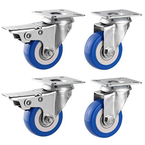 Teaio 4 Stück Lenkollen für Möbel Transportrollen mit Bremse Schwenkrollen Schwerlastrollen Stahl 50 mm Rolle