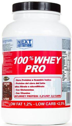 100% WHEY PRO gr 2250 Siero Proteine Gusto Vaniglia con Glutammina e Vitamine ricche di (100% Pure L-glutammina In Polvere)