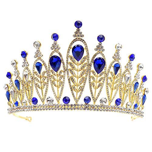 MoGist Hochzeit Krone Luxus Blattform Teardrop Strass Krone Braut Tiara Strass Haarreifen Prinzessin Diadem für Festzüge Hochzeit (Gold+Blau)