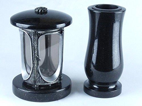 designgrab Alu Grablampe aus Aluminium in Antikoptik und Grabvase Taille-medium in Granit Schwedisch Black SS1 schwarz