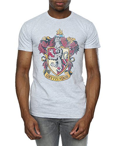 Harry Potter Herren Gryffindor Distressed Crest T-Shirt Sport Grey