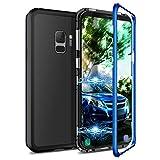 CE-Link Kompatibel mit Samsung Galaxy S9 Hülle Glas mit Magnetisch Panzerglas Rückseite Durchsichtig Handyhülle Transparent Hard Case Ultra Slim Dünn 360 Grad Full Body - Blau + Schwarz