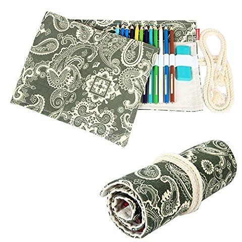 Damero Cavas Pencil Wrap of 48 Coloured Pencils, Roll Case for Pen, Travel Pencil Holder(No Pencil Included), Secret Garden