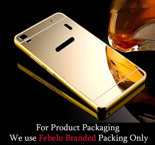 Febelo Branded Luxury Metal Bumper Acrylic Mirror Back Cover Case For Lenovo K3 Note - Gold Plated