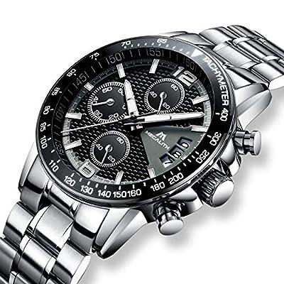 Reloj cronógrafo de Acero Inoxidable para Hombre, Reloj de Cuarzo analógico con Fecha, Calendario, Impermeable, para Hombre, con Esfera Negra, Correa de Plata