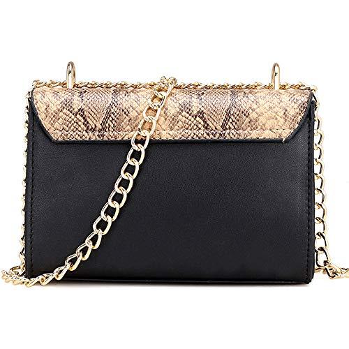 SMILEQ Frauen Tasche Kette Umhängetaschen Handtaschen Messenger Bags (Schwarz) (Nike Messenger Bag Für Männer)